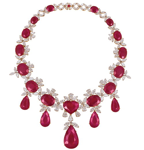 Fancy shaped ruby and diamond necklace