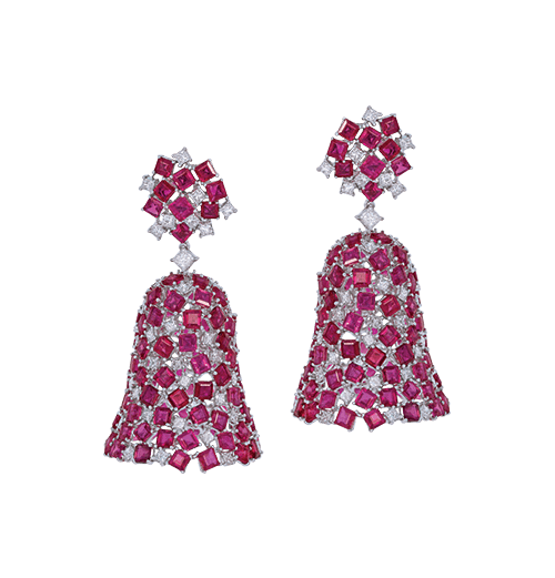 The ruby bell earrings