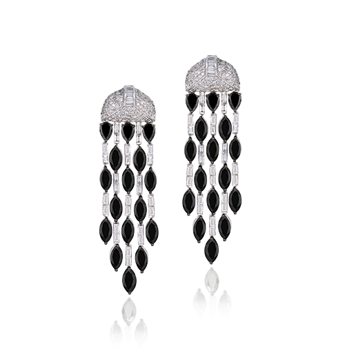 Black and white diamond earring