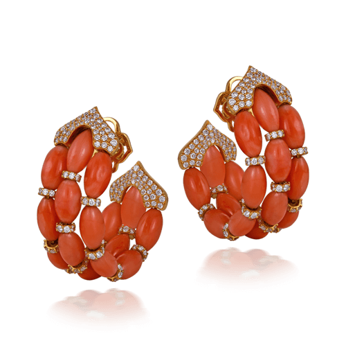 Coral Bead And Diamond Earrings