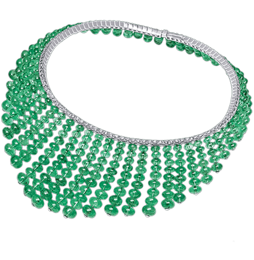 Columbian Emerald Bead And Diamond Necklace
