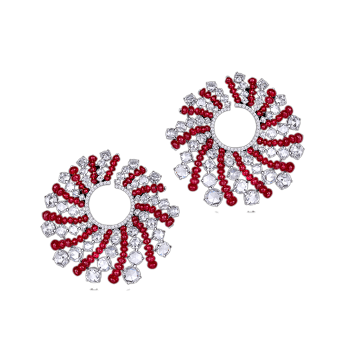 Ruby beads and rosecut diamond earrings