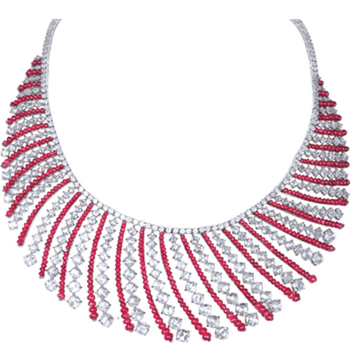 Ruby beads and rosecut diamond necklace