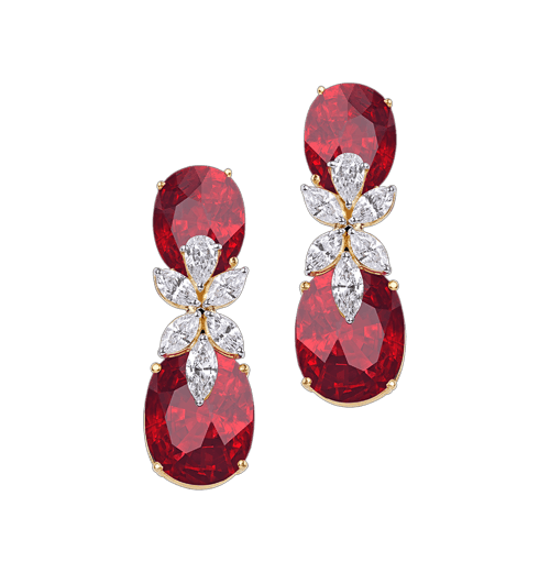 Mozambique ruby and diamond earrings