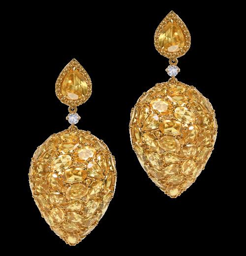 3D drop yellow sapphire earrings