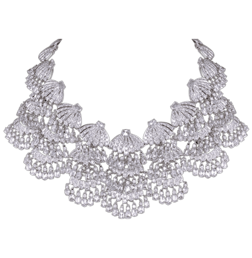 Diamond and rosecut layered necklace