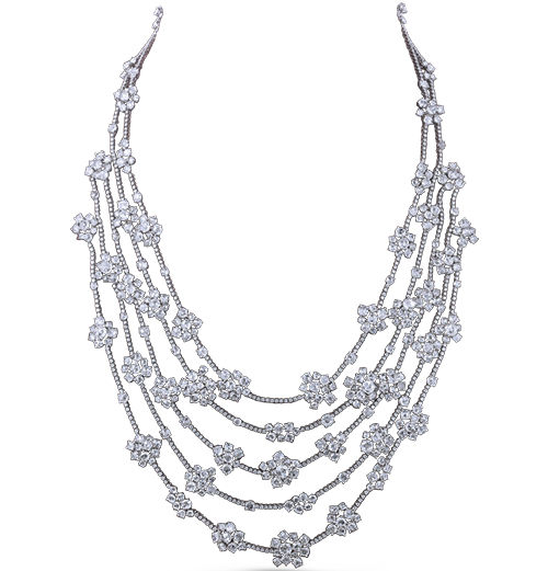 Asymmetric Rosecut and diamond Necklace