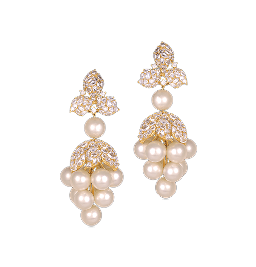 South sea pearl and rosecut diamond earrings