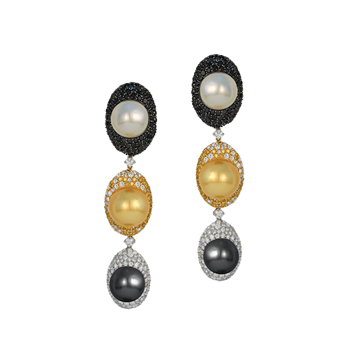 Tri coloured South Sea Pearl earrings