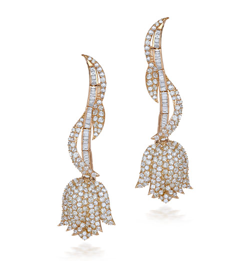 Baguette And Round Diamond Earrings