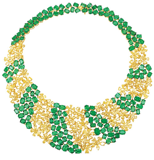 Zambian Emerald and yellow rosecut diamond necklace