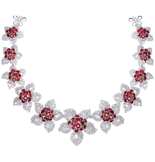 Ruby and rosecut diamond necklace