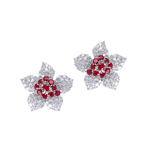 Ruby and rosecut diamond studs