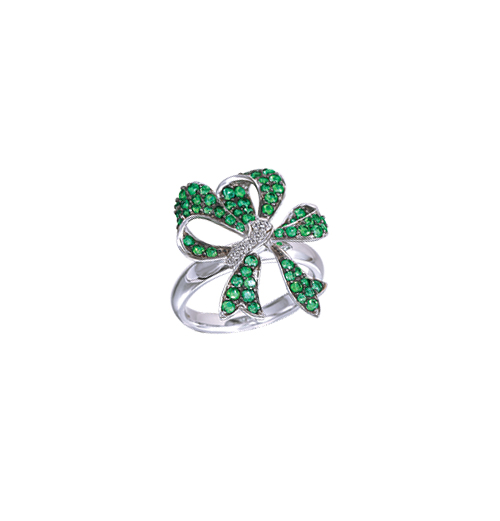 Emerald Bow ring
